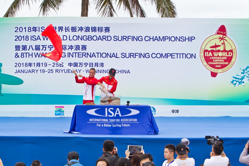 Team China participates in the Sands of the World Ceremony, putting the growth of Surfing in China, and specifically Hainan, on display. Photo: ISA / Tim Hain