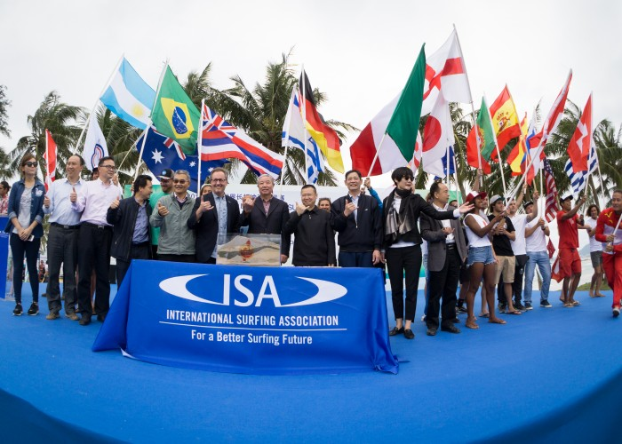 IOC Vice President Yu Zaiqing declares the competition open alongside representatives from the 22 participating nations. Photo: ISA / Sean Evans