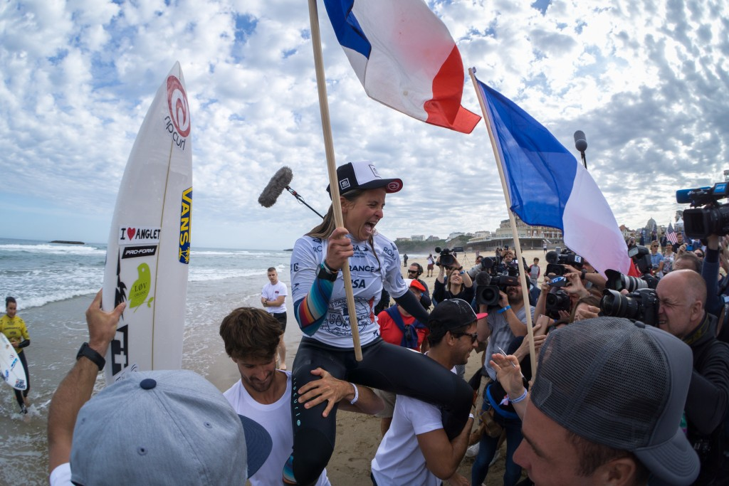 Pauline Ado will return to the WSG defend her individual and team Gold Medals. Pictured, Ado celebrates her first-place finish in 2017. Photo: ISA / Sean Evans