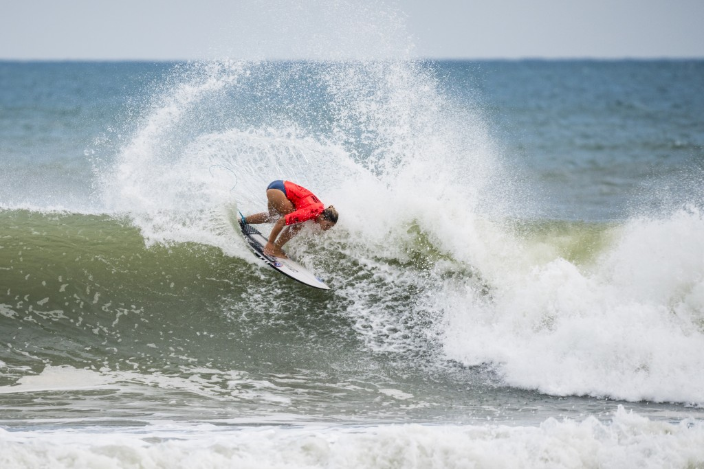 Paige Hareb enjoying the typhoon conditions and earning the highest women's heat total.