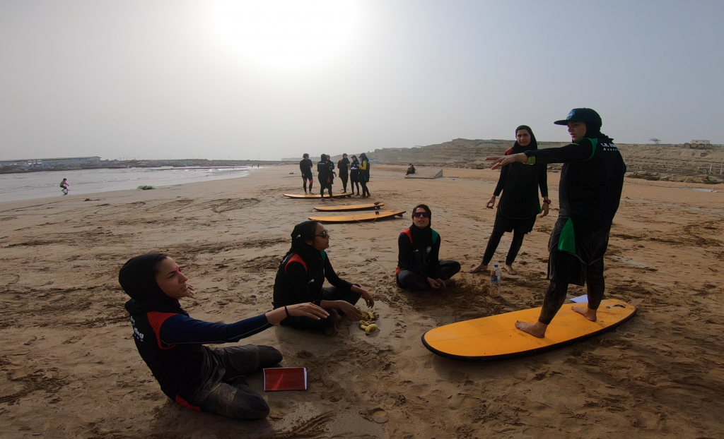 Iranian women put their skills into practice during the country's first Olympic Solidarity supported courses. Photo: I.R. Iran Surfing Association