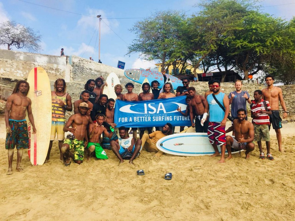 Surfers from Cape Verde work towards developing Surfing in the country through the ISA Olympic Solidarity backed courses held in July. Photo: Cape Verde Surfing Federation
