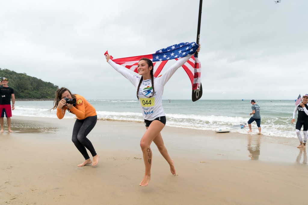 Jade Howson follows teammate Ryan Funk's Gold with a Gold Medal of her own. Photo: ISA / Sean Evans