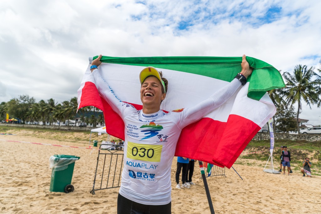 Hungary's Daniel Hasulyo lets out tears of joy as he earns his first ISA Gold. Photo: ISA / Sean Evans