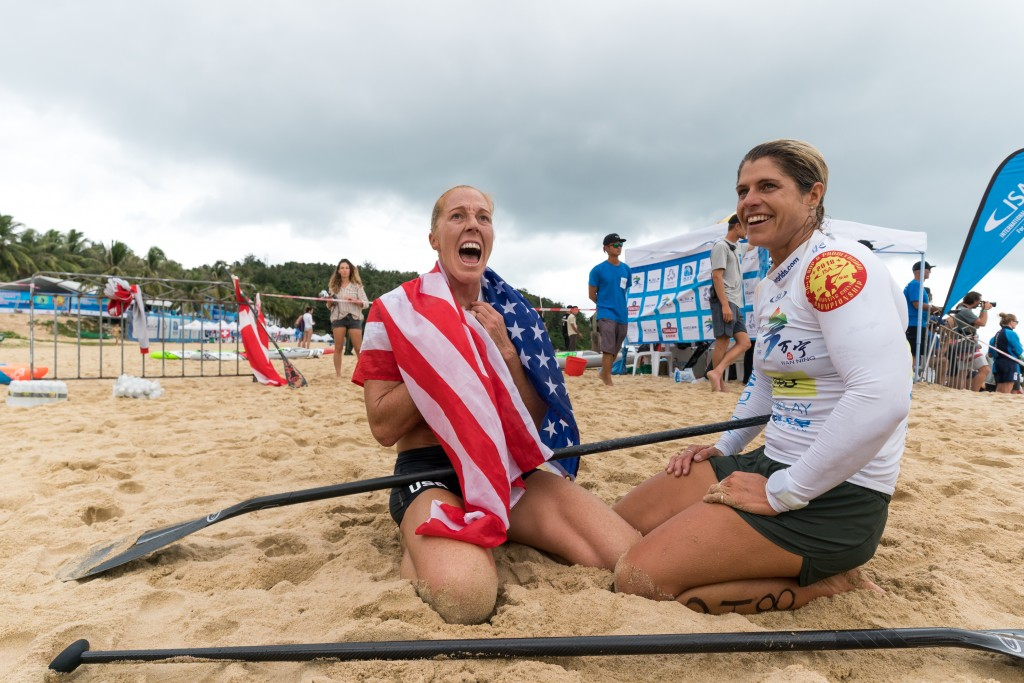 Candice Appleby celebrates her Gold with Silver Medalist Terrene Black. Photo: ISA / Sean Evans
