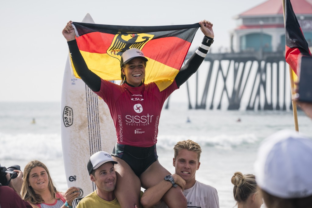 Rachel Presti is nothing but smiles after earning the Girls U-18 Gold for Team Germany. Photo: ISA / Ben Reed