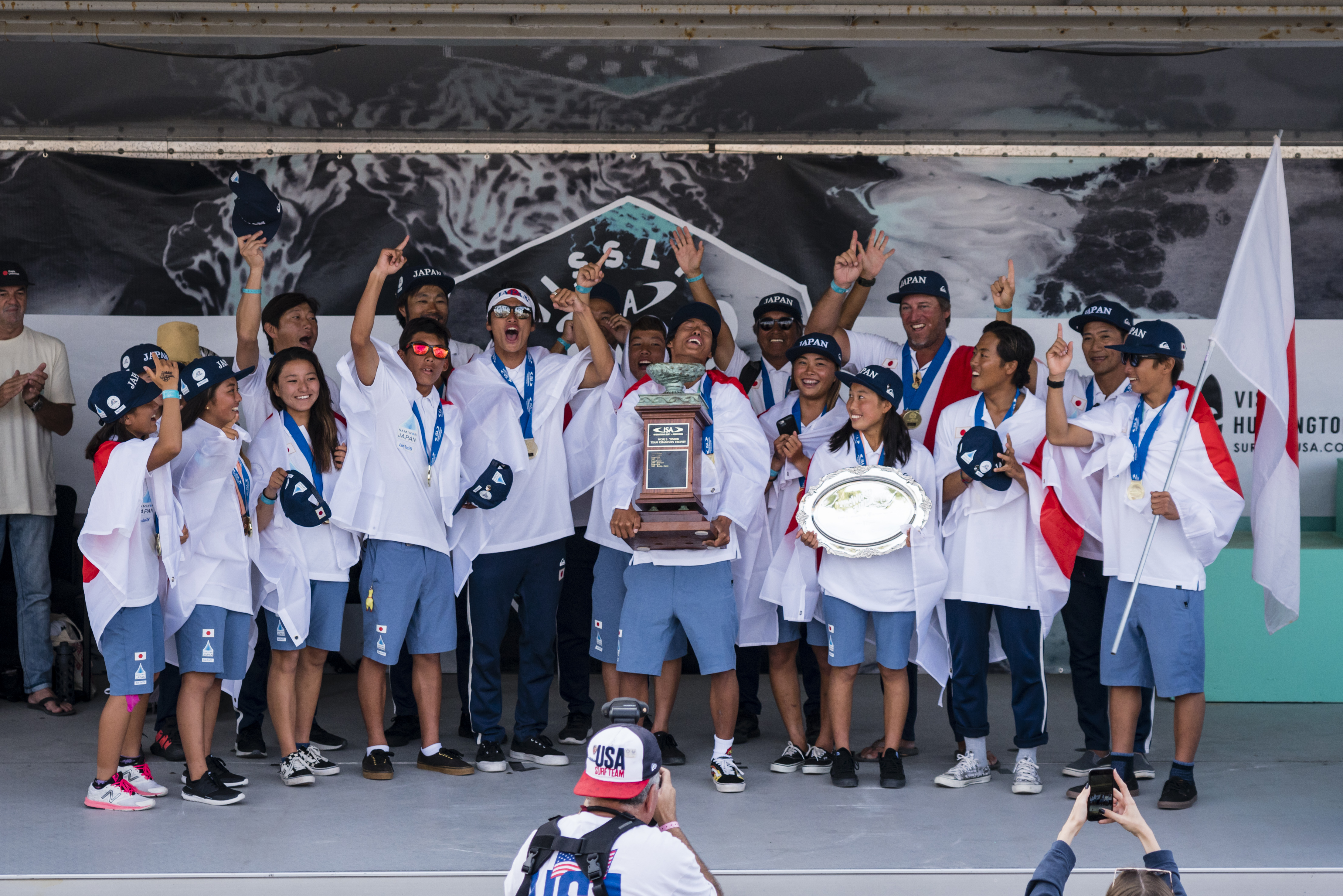 31f5b592f5 Team Japan celebrates their historic first-ever Team Gold Medal in the  VISSLA ISA World