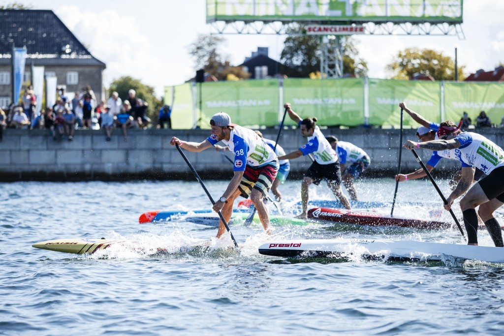The Men's Sprints hit the water at the 2017 WSUPPC in Copenhagen, Denmark. Photo: ISA / Ben Reed