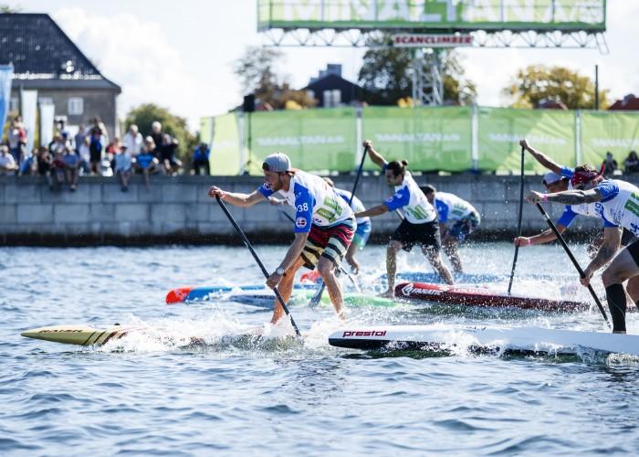 The Men's Sprints hit the water at the 2017 WSUPPC in Copenhagen, Denmark. Photo: ISA / Ben Reed