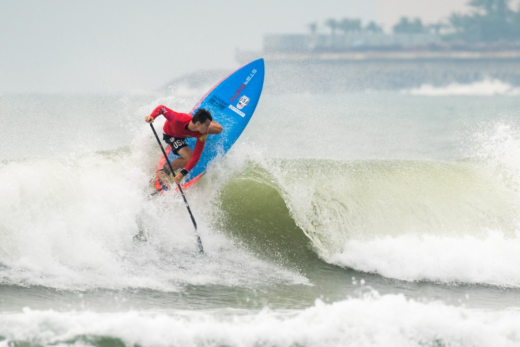 USA's Sean Poynter will look for his third ISA SUP Surfing Gold on Monday. Photo: ISA / Sean Evans