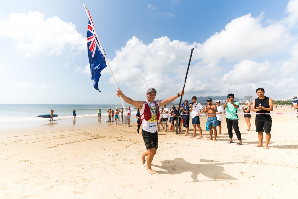 Michael Booth regains his ISA SUP Distance Title Gold Medal that he won in 2016. Photo: ISA / Sean Evans