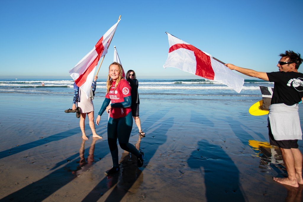 England's Charlotte Banfield aims to earn Team England's first adaptive surfing Gold Medal on finals day in the Women's AS-1 Division. Photo: ISA / Chris Grant