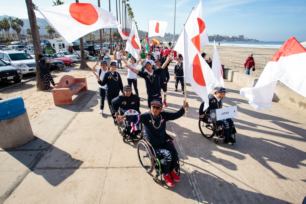 Team Japan full of energy and national pride during the Parade of Nations. Photo: ISA / Chris Grant