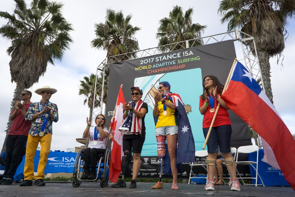 The Women's AS-2 division accepts their medals in 2017, with USA's Dani Burt taking the Gold. Photo: ISA / Sean Evans
