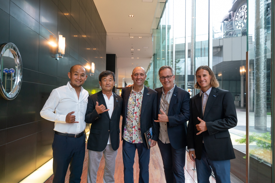 From left to right: Tokyo 2020 Surfing Sports Manager Kimifumi Imoto, Nippon Surfing Association President Atsushi Sakai, ISA President Fernando Aguerre, ISA Executive Director Robert Fasulo, and ISA Technical Director Erik Krammer. Photo: ISA / Sean Evans