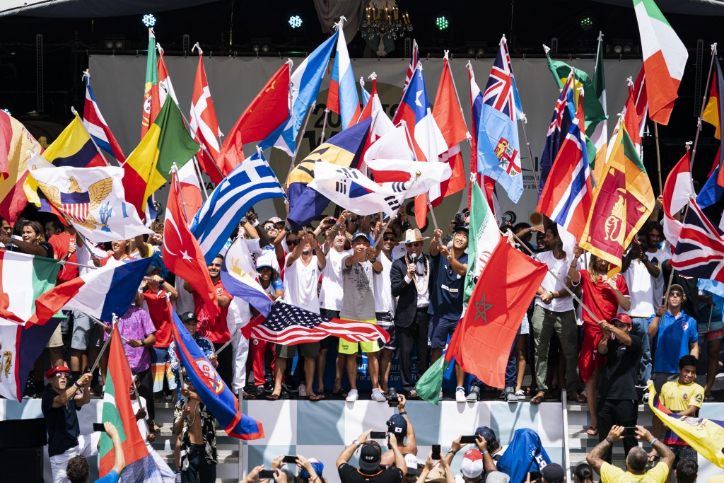 ISA President Fernando Aguerre officially declares the competition open with a record 55 national flags waving. Photo: ISA / Ben Reed