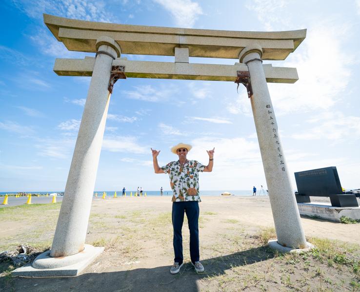 ISA President Fernando Aguerre at the Surfing venue for Tokyo 2020, Tsurigasaki Beach. Photo: ISA / Sean Evans