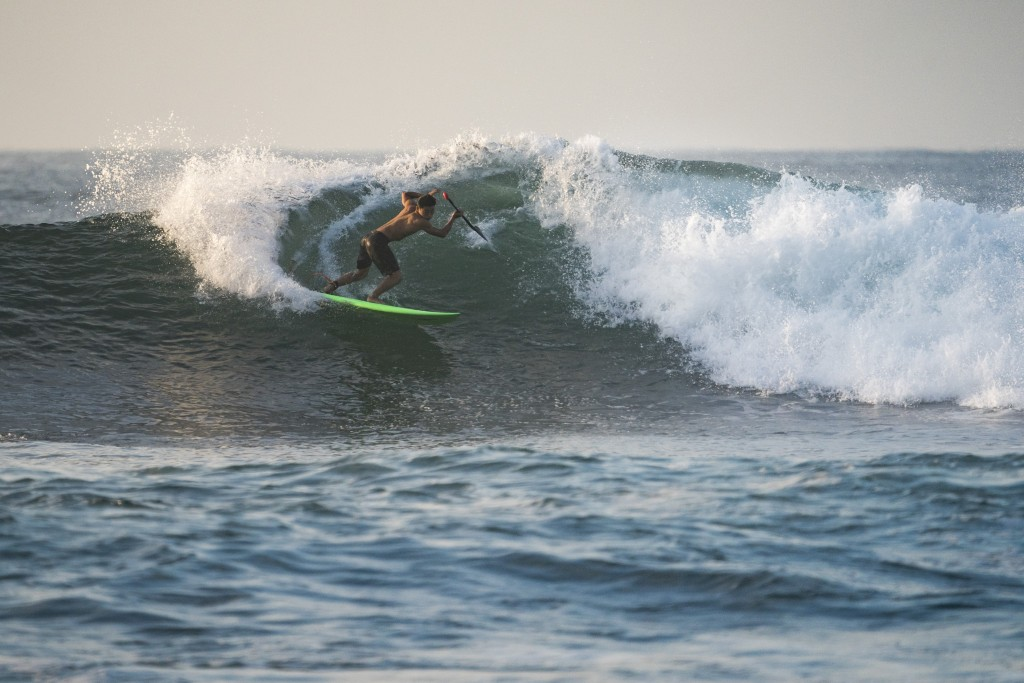 Team Japan's Riki Horikoshi getting a feel for the long waves at El Sunzal in the pre-event warm ups. Photo: ISA / Ben Reed