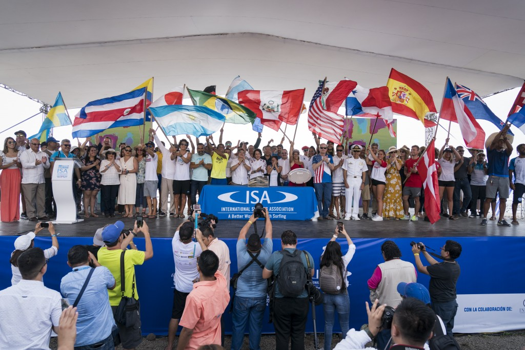 Representatives from each competing nation and government officials celebrate the opening of the event. Photo: ISA / Ben Reed