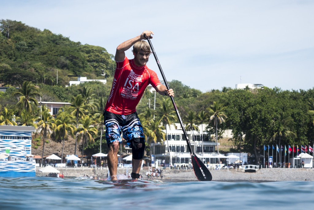 USA's Zane Schweitzer is looking for his second ISA SUP Surfing Gold on Finals day. Photo: ISA / Ben Reed