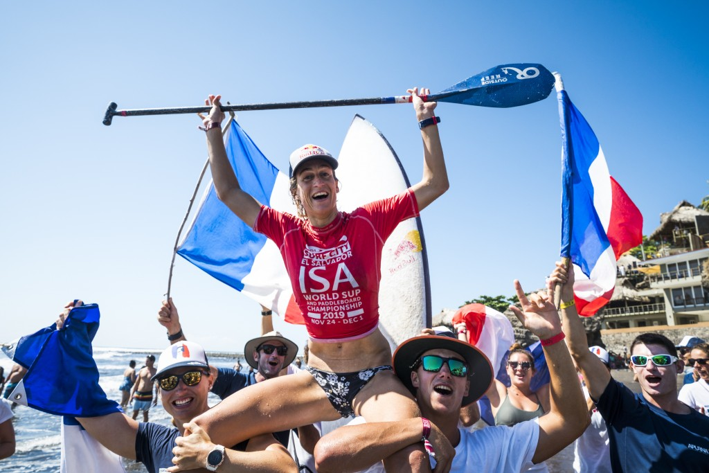 France's Justine Dupont shows she can do it all from big wave surfing, shortboard, longboard, and SUP Surfing, earning the Women's SUP Surfing Gold. Photo: ISA / Ben Reed