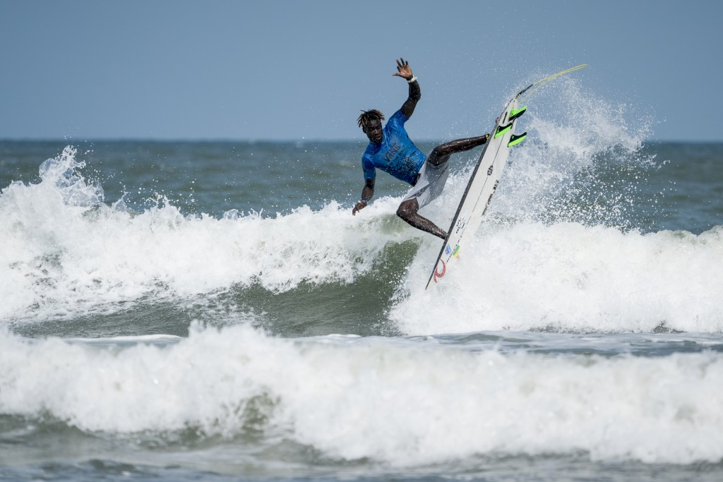 Surfing has experienced an explosion of growth in Senegal after Olympic inclusion, with the country fielding a team to compete at the ISA World Surfing Games for the past three years. Pictured, Senegal's Cherif Fall competes among the world's best at the 2019 ISA World Surfing Games in Miyazaki, Japan. Photo: ISA / Ben Reed