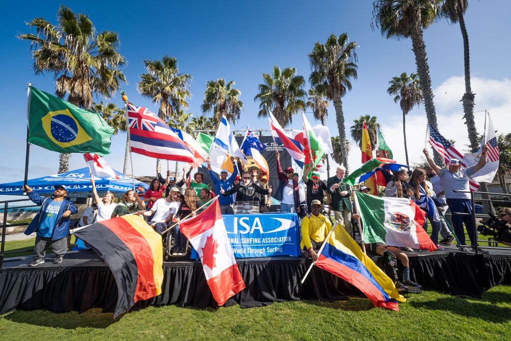 22 nations take to the stage to celebrate the opening of the competition. Photo: ISA / Sean Evans